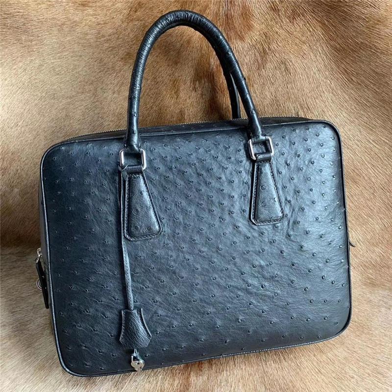 Authentic Ostrich Skin Key Lock Closure Businessmen Large Briefcase Laptop Purse Bag Genuine Exotic Leather Male Working Handbag