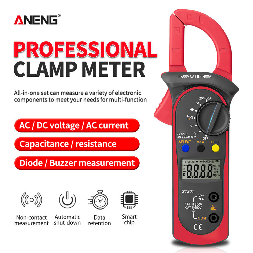 ANENG ST201 Digital Clamp Multimeter Resistance Ohm Tester AC DC Clamp Ammeter Transistor Testers Voltmeter D Contact Lcr Meter