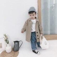 Осенний модный Тренч в Корейском стиле большого размера для мальчиков, однотонные повседневные Длинные куртки, пальто