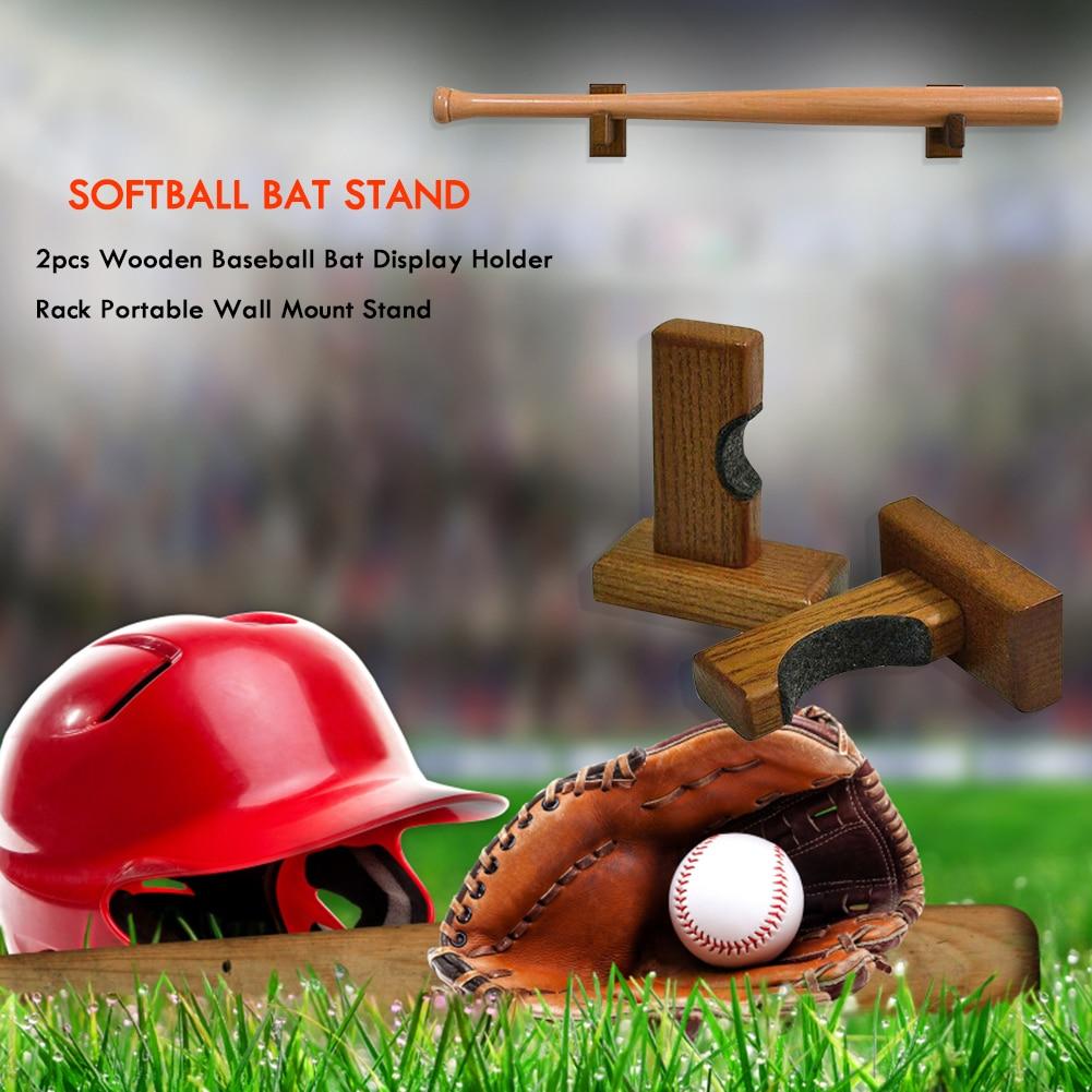 2pcs Wall Mount Wooden Baseball Bat Display hanger Holder Stand Portable Softball Bat Hockey Stick Rack Bracket