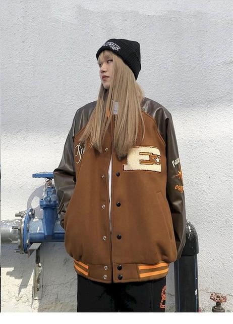 2021SS Bomber Woman Jacket Hip Hop Furry Bone Patchwork Color Block Jackets Mens Harajuku Streetwear Men Baseball Coats Unisex 5