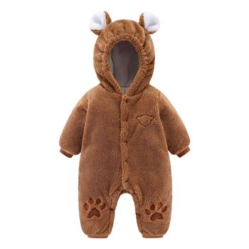 2020 Winter Newborn Baby Rompers Girl Clothing Hooded Fleece Infant Jumpsuit Overalls Thick Warm Toddler Boys Coats