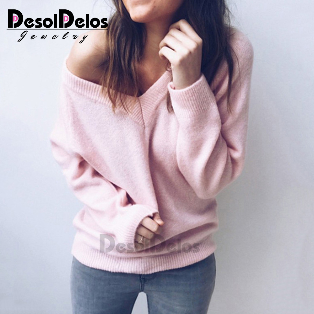 Casual Knitted Sweater Women Streetwear V Neck Long Sleeve Pullovers Loose Solid Coat 2019 Autumn Winter Fashion Women 39 s Sweater in Pullovers from Women 39 s Clothing