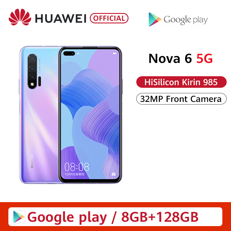 Oryginalny Huawei Nova 6 5G Smartphone 40MP AI aparaty 32MP przedni aparat 6.57 ''pełny ekran Kirin 990 Android 10