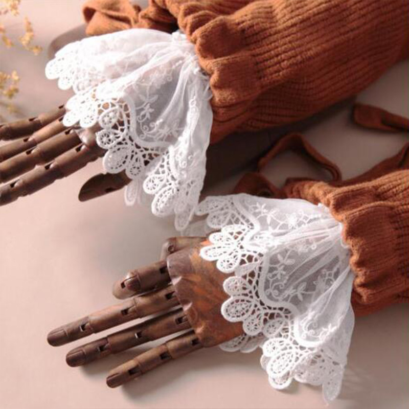 White Women Fake Cuffs Lace Wrist Warmers Black Flare Sleeve DIY False Cuff For Sweater Blouse Apparel Decor