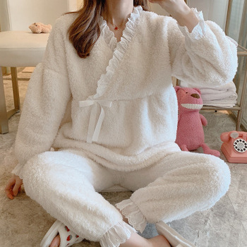 2020 New Spring Fall Pregnant Sleepwear Nursing Pajamas Maternity Set Cotton Warm Thick Breastfeeding Clothes  Clothes