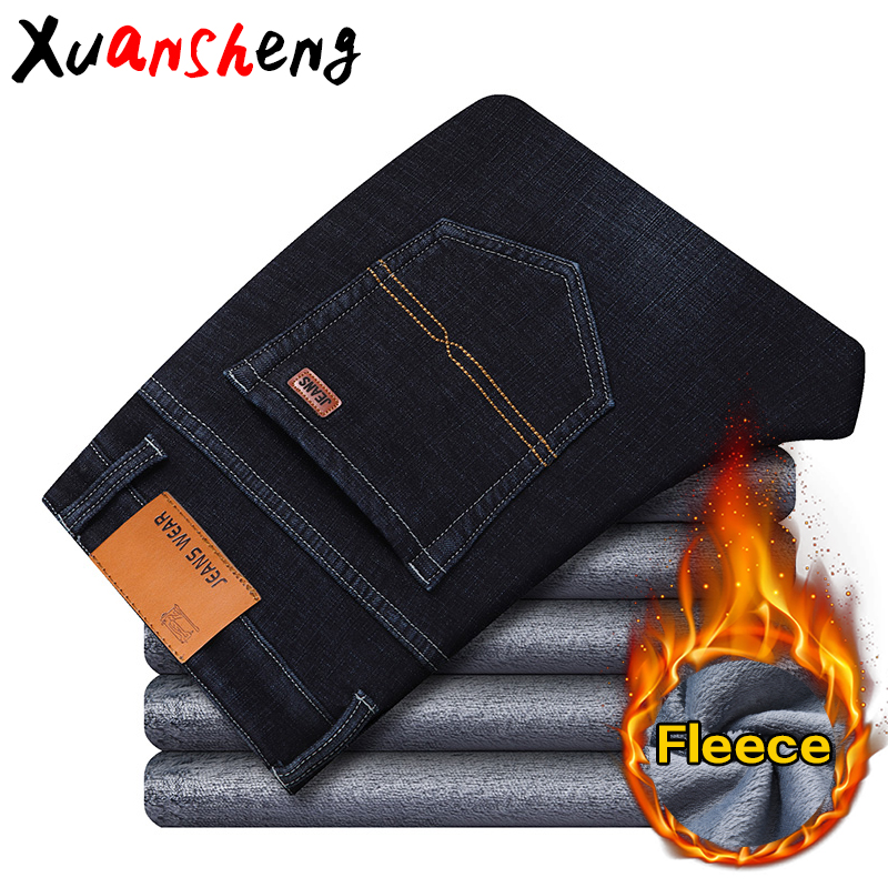 Xuashen fleece warm men's   jeans   2019 new straight winter classic business casual thickening elastic brand pants blue black   jeans