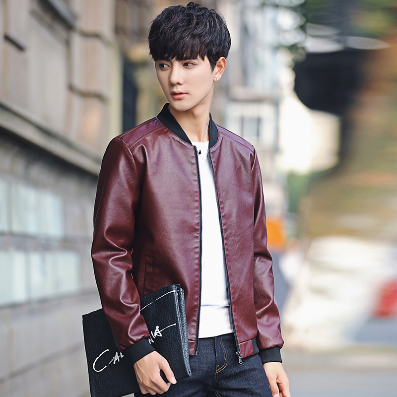 Spring And Autumn New Style Men Solid Color Baseball Collar Leather Coat Youth Origional Hong Wave Jacket Men's
