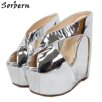 Sorbern 7 Inch Heels Silver Patent Mirror Pumps Shoe Wide Strap Criss Crossed Wedge Mules Summer Shoes Slip On Womans Designer