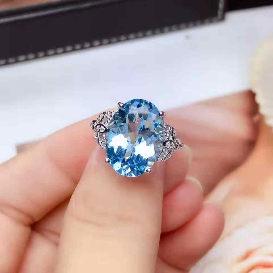 גבוהה-איכות לונדון טופז הכחולה חן אופנה טבעת נדל 925 כסף בסדר תכשיטי עבור Women【FS Jewelry】