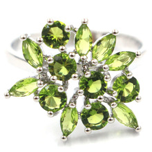 Gorgeous Green Peridot, White CZ Womans Party Gift 925 Gold Silver Ring 7#  23mm