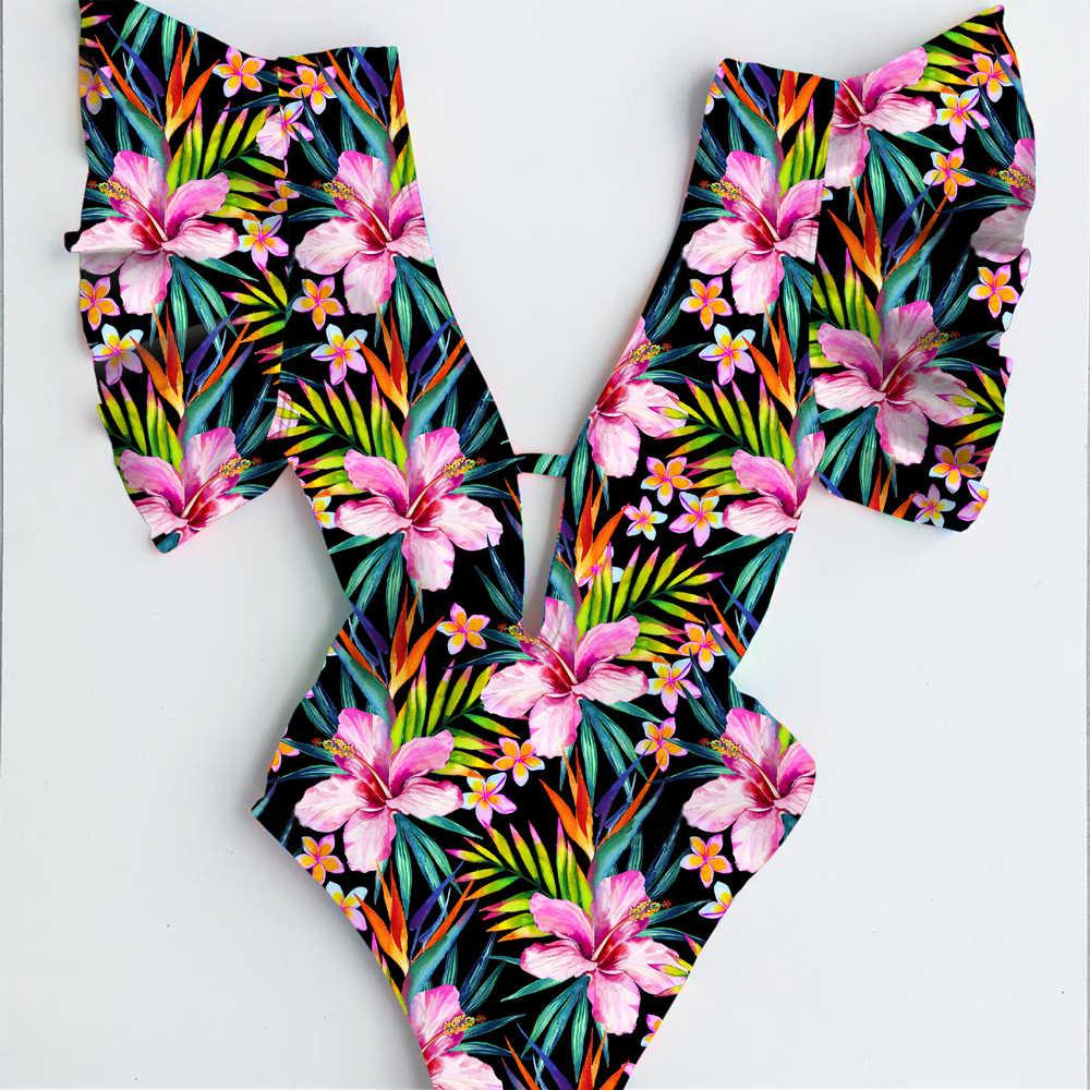 Sexy 2020 nouveau une pièce maillots de bain femmes maillot de bain imprimé fleuri rembourré maillot de bain découpé plage vêtements body Monokini femme