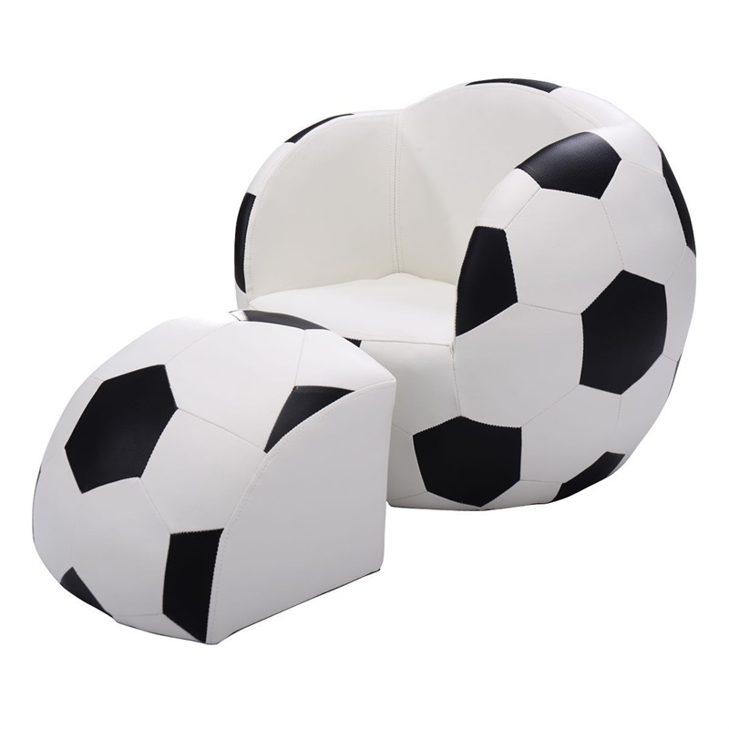 Football Shaped Kids Sofa Couch With Ottoman Black White Children's Sofas Set HW54193