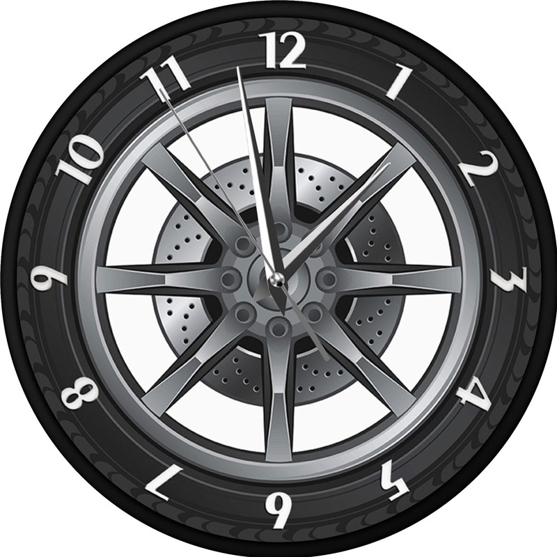 Creative 3D Cool <font><b>Car</b></font> <font><b>Wheel</b></font> Wall <font><b>Clock</b></font> Mechanical Tire Retro nostalgic <font><b>clock</b></font> home decoration <font><b>clock</b></font> image