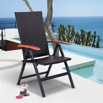 Patio Adjustable Aluminum Folding Back Rattan Recliner Chair 5 Adjustable Height comfort Wood-Made Armrest Beach Chair