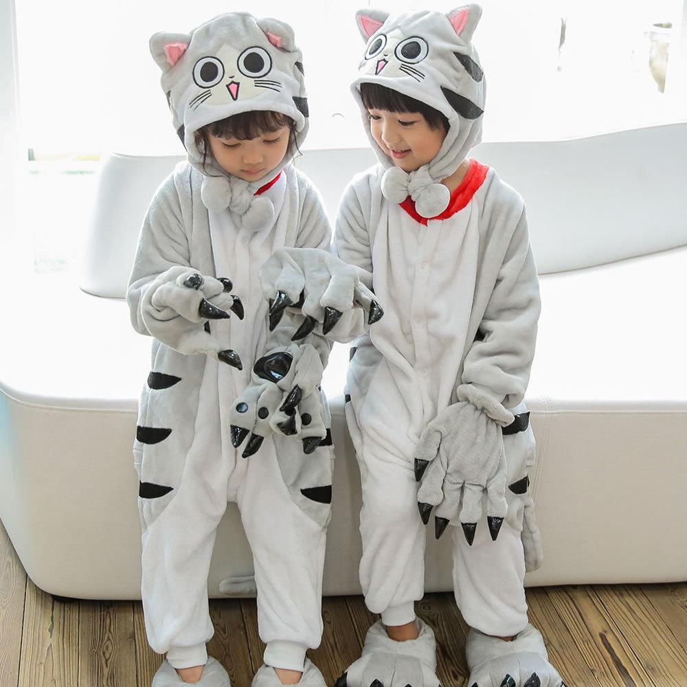 Children's Pajamas Flannel Pikachu Siamese Pajamas Animal Cartoon Cute Children's Pajamas Unisex Warm Winter Pajamas