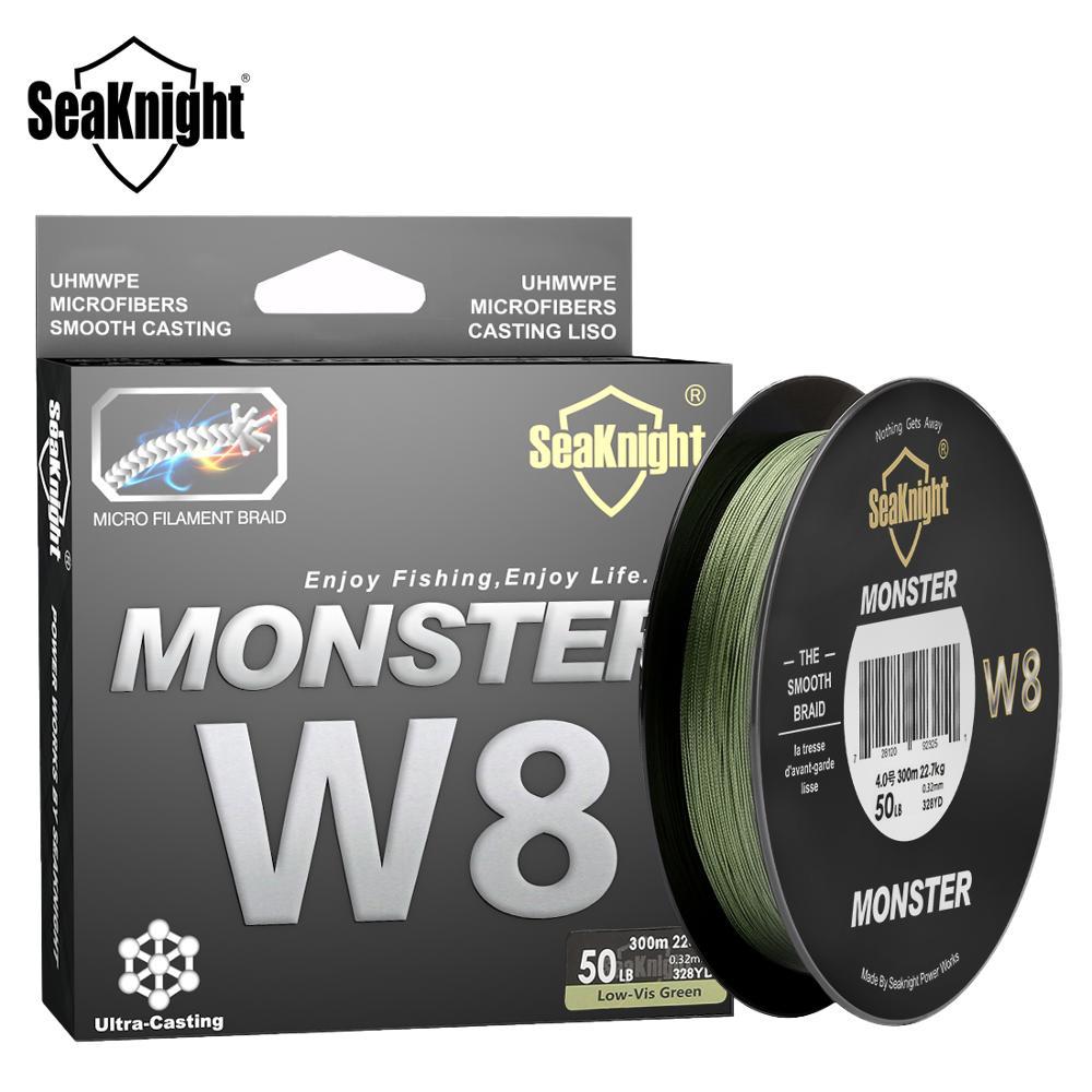 SeaKnight MONSTER W8 Fishing Line 150M 300M 500M 8 Strands Braided Fishing Line Multifilament PE Line 15 20 30 40 50 80 100LB