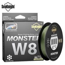 SeaKnight MONSTRO W8 Linha De Pesca 150M 300M 500M 8 8strands Linha de Pesca Trançada Multifilament PE Linha de 15 20 30 40 50 80 100LB