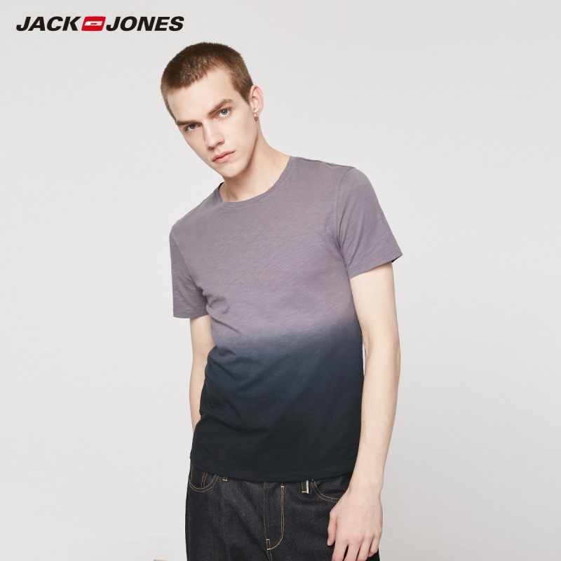 JackJones Men's 100% Cotton Round Neckline Slim Fit Gradient Style Short-sleeved T-shirt| 219201531
