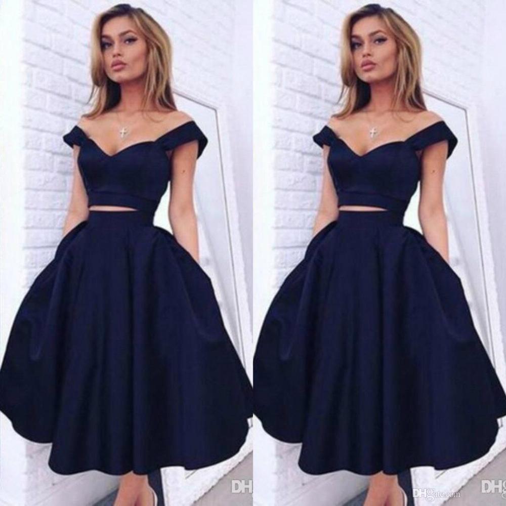 2020 retour robes hors de l'épaule Sexy découpe taille noir fille robe de bal longueur de thé noir robes de Graduation