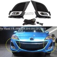 цена на Set For Mazda 3 BL 2008 2009 2010 2011 2012 2013 Hatchback Sedan kit chrome Front Bumper Fog Light Fog Lamp Modification