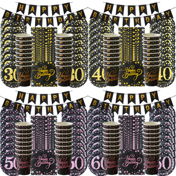 60/40/50/30th Birthday party decoration 49Pcs Disposable tableware suit Black golden Adult anniversary parties Paper plates cups