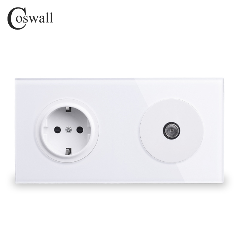 Coswall Crystal Tempered Pure Glass Panel EU Standard Wall Socket + Female TV Connector 172*86mm R11 Series