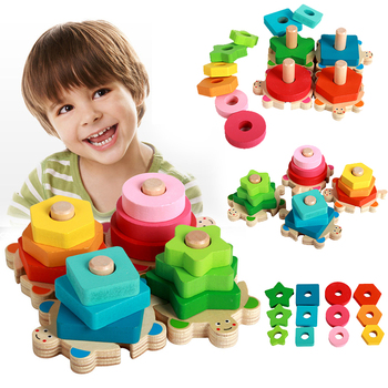 цена Kids Toys Wooden Toys Montessori Materials Geometry Shape Cognitive Matching Game Puzzle Toy Early Educational Toys For Children онлайн в 2017 году