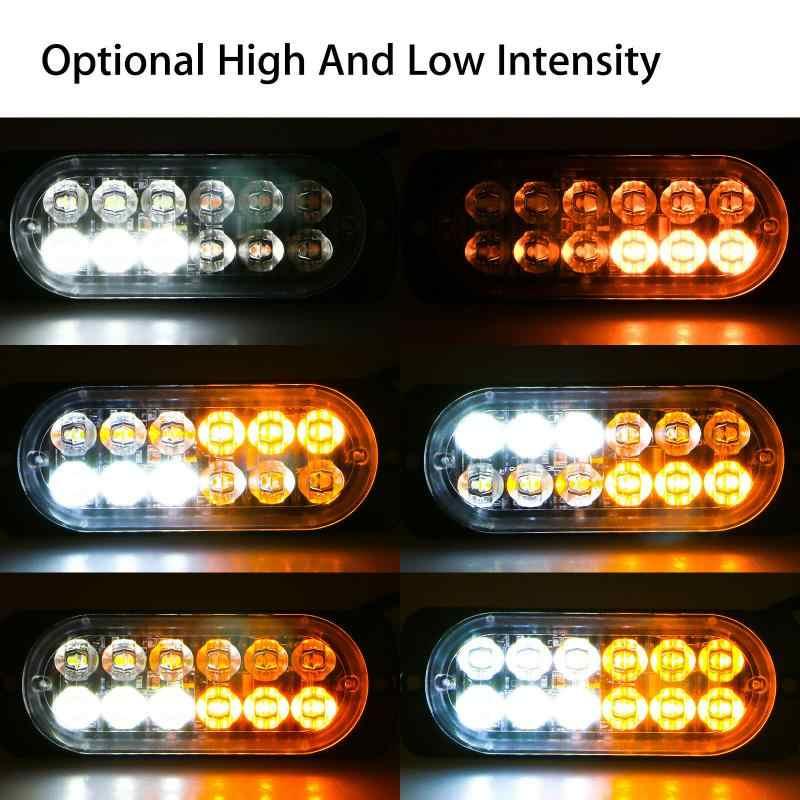 12LED Xe Tải Xe Tải Xe Ô Tô-Tạo Kiểu Đèn Flash Hổ Phách Văn Đèn Hiệu Nhấp Nháy Cảnh Báo Nhấp Nháy Khẩn Cấp Dạng Lưới Tản Nhiệt Cảnh Sát Ánh Sáng Đèn LED Cảnh Báo