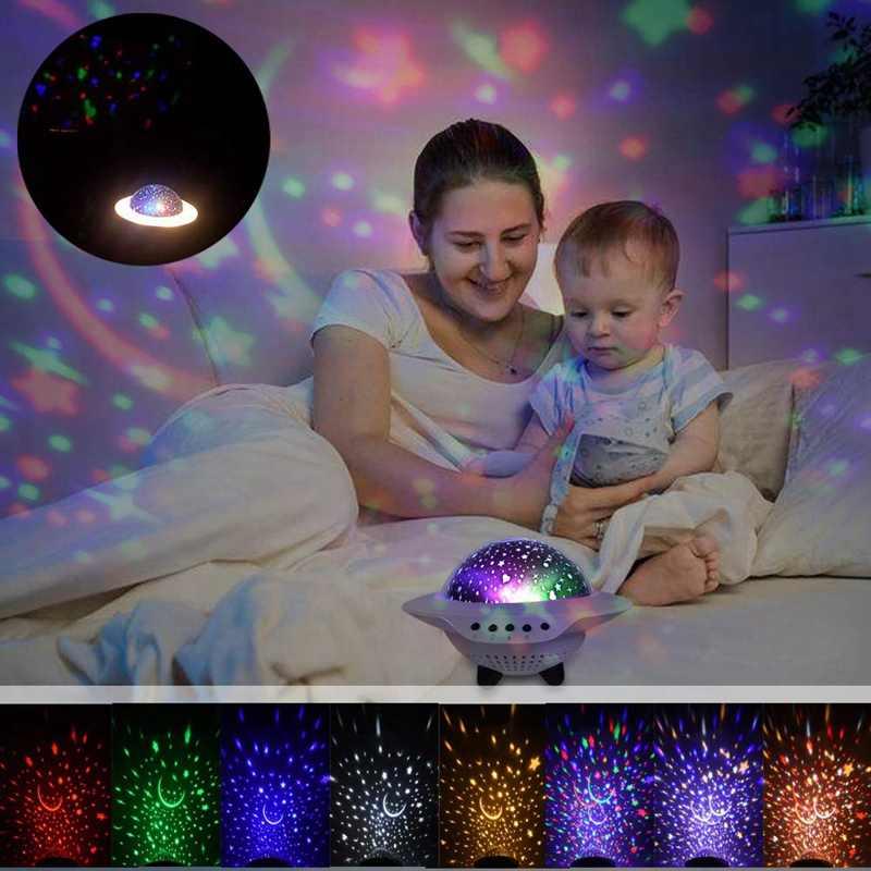 Kids Nachtlampje, Led Star Night Light Lamp Projector, baby Nachtlampje Met Bluetooth Speaker 7 Verlichting Modi, Roterende Ufo La
