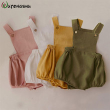 Baby Boys Romper Summer Infant Cotton Unisex Newborn Rompers New Born Baby One-pieces Girls Jumpsuit Baby Boy Clothes Outfit cheap Wutongshu Solid Square Collar Belt Sleeveless Baby rompers Fits true to size take your normal size red plaid pink black plaid blue Khaki striped