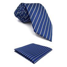 F27 Blue Striped Mens Tie Set Neckties for Men Extra long Pocket Square Skinny Slim 6cm