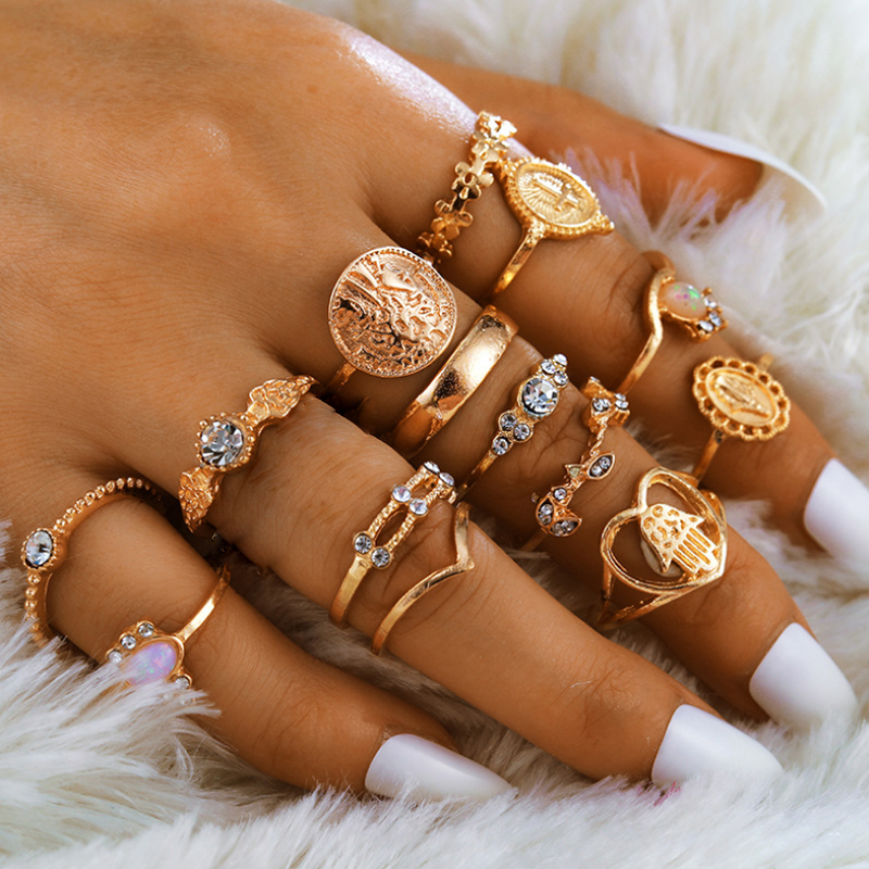 Tocona 15 Pcs/set Boho Virgin Mary Gold Rings for Women Heart Fatima Hands Anillos Cross Leaf Geometric Kольцо Jewelry 7056