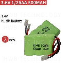 2 шт./лот Новинка Ni-MH 1/2AAA 3,6 В 400 мАч Ni MH 1/3 AAA перезаряжаемая батарея с заглушками для беспроводного телефона Бесплатная доставка