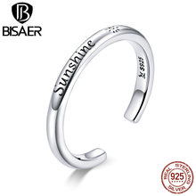 BISAER Open Ring Real 925 Sterling Silver SUNSHINE Engrave Open Finger Rings for Women Sterling Silver Jewelry Bague Gift kinel bague real pure 925 sterling silver vintage layered rings for woman jewelry wedding finger open ring bijoux femme