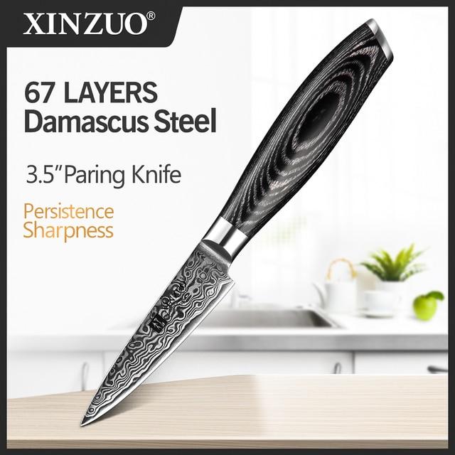 XINZUO cuchillo de pelar de 3,5 pulgadas, 67 capas, cuchillos de cocina japoneses vg10 Damasco, Pakka mango de madera, pelado afilado, utilidades de frutas