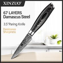 """Xinzuo 3.5 """"polegadas faca de aparamento 67 camadas japão vg10 damasco facas cozinha pakka punho madeira peeling afiada frutas utilidades faca"""