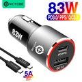 83 Вт Быстрое Автомобильное зарядное устройство  1 порт USB C PPS/PD 65 Вт/45 Вт/30 Вт/18 Вт  1 порт QC3.0 для ноутбука TYPE C Thunderbolt 3 iphone11/SE S10/S20/Note 10