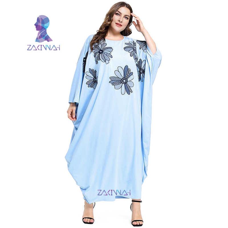 7720 مسلم حجم كبير زي المرأة الخفافيش كم مطرزة فستان فضفاض عباية طويلة Robes تونك الشرق الأوسط رمضان الإسلام العربي