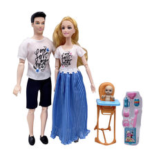 11.5 inch Barbies accessories family couple combination = dad + mom / doll / children's educational play house toys(China)
