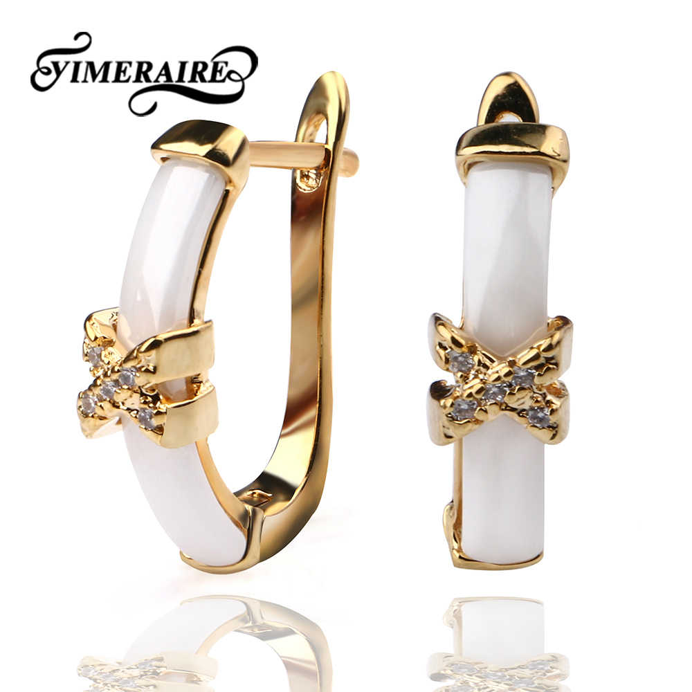 Exquisite Retro Gold Butterfly U Shape Earrings With Black White Ceramic Delicate Jewelry For Lady Women Christmas New Year Gift