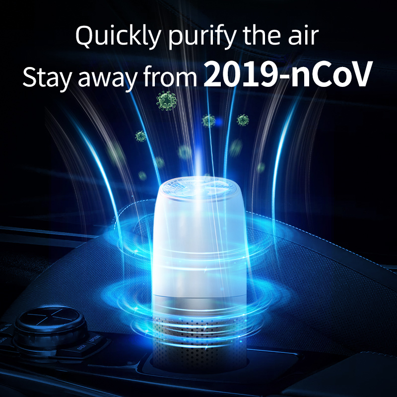 Portable Car Air Purifier USB HEPA Fresh Air Negative Ion Cleaner Oxygen Removes PM2.5 Smoke Odors ionizer away from 2019-nCoV