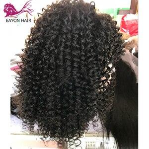 Image 2 - EAYON kręcone ludzkie włosy koronki przodu peruki 130% gęstości brazylijski peruka z kręconych włosów typu Kinky z pełną grzywką dla czarnych kobiet Remy włosy