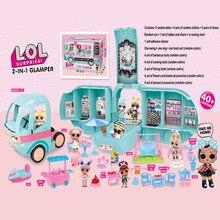 Lol surpresa bonecas originais diy 2-em-1 ônibus glamper brinquedo lols boneca jogar jogos de casa vestir gametoys para meninas presentes de aniversário 2cz