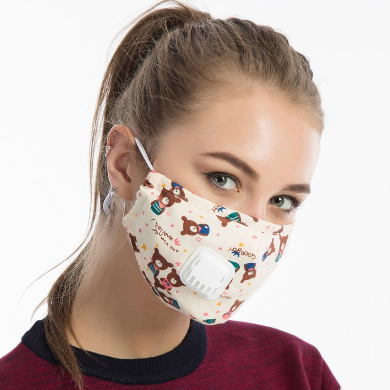 Men Unisex Winter Cotton PM2.5 Mouth Mask   Cartoon  Printed Anti Dust Pollution 95AB