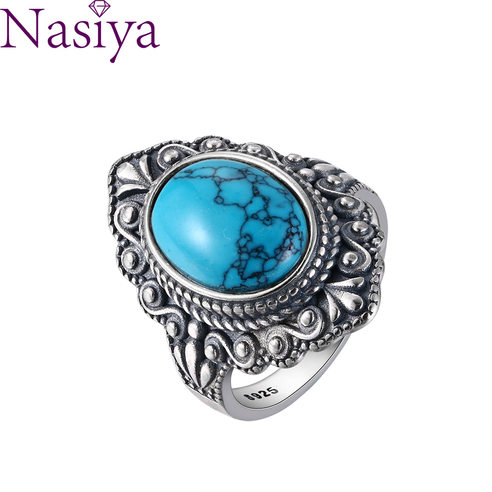 Nasiya Vintage Oval Natural Turquoise Rings For Women 925 Sterling Silver Ring Jewelry Finger Ring Gemstone Rings Party Gift