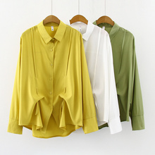 Blusas mujer de moda 2019 ladies tops chiffon blouse shirts for women Button Solid harajuku green clothes Drawstring 0312