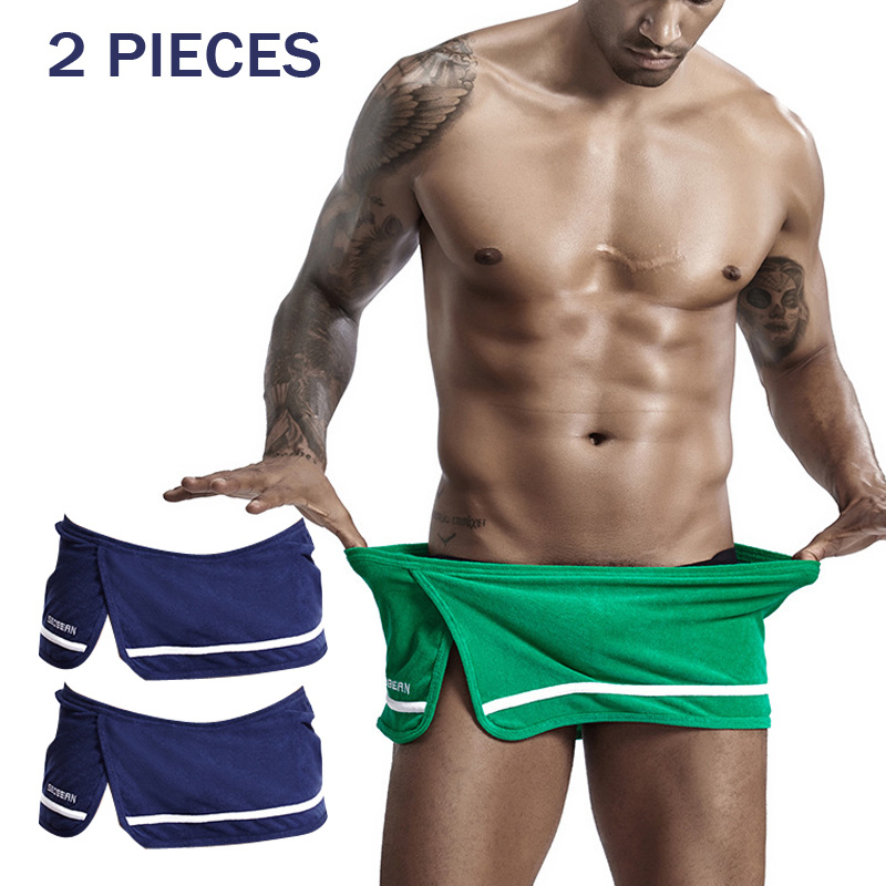 2 Pieces Mens Sexy Pajamas Short Cotton Underwear Men Sleepwear Solid Color Green Red Pyjama Shorts Man Calzoncillos Hombre 2020