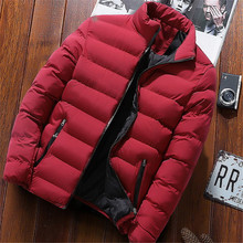 2019 Men Casual Hooded Parka Printed Winter Men Fashion Patchwork Cotton Slim Fit Coat Thick Warm Ho