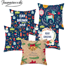 Fuwatacchi Merry Christmas Cushion Cover Plant Pillow Decorations for Home Throw Pillows Pillowcase 45*45
